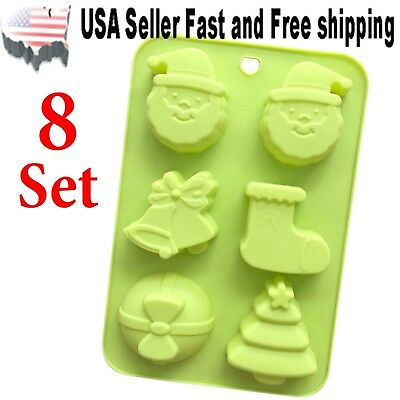 [8 PACK] 6 Cavity Christmas Shaped Silicone DIY Handmade Soap Mold ~ US Seller