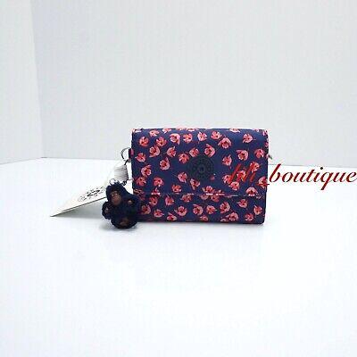 NWT Kipling AC3739 PIXI Snap Medium Trifold Wallet Polyester Brilliant Buds Pink