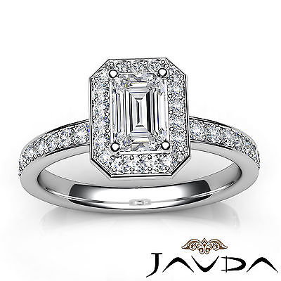 Emerald Cut Halo Pave Set Diamond Engagement Ring GIA G VS1 Platinum 950 0.95Ct 3