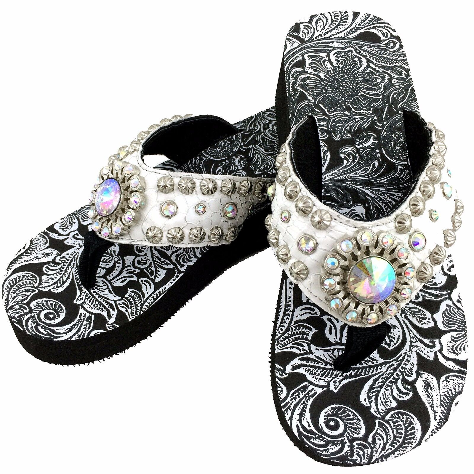8055929d82ea6 Details about Western White Croc AB Rhinestone Studs Crystal Concho Flip  Flips Sandals