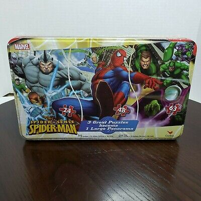Marvel Spider Sense Spider-Man Cardinal - 3 Puzzles Panorama Tin - Sealed - 2009 ()