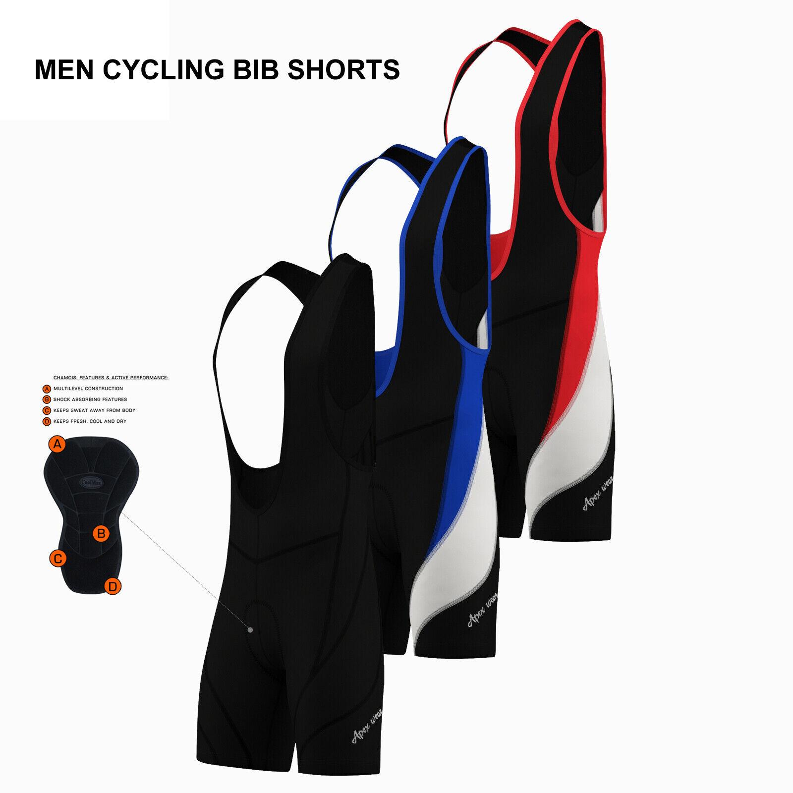 Mens Performance Cycling Bib Shorts Coolmax? Padded Cycle Pants Shorts