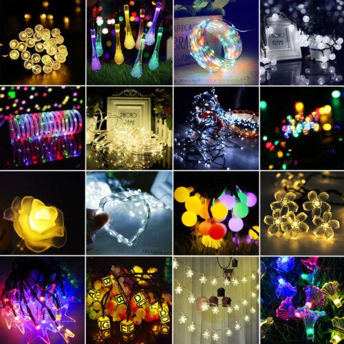 30/50/100/200 LED Solar Lichterkette Außen Beleuchtung Weihnachten Garten Party