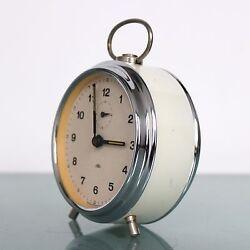 CLOCK Mantel Alarm PRIM Czech Republic TOP!! Mid Century Vintage CHROME! / WHITE
