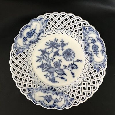 Antique-German Meissen Porcelain Blue Onion~Pierced-No Trim Luncheon Plate-9 1/4