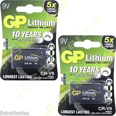 2 x LITHIUM 9V Batteries GP CR-V9 U9VL U9VL-J L522 PP3
