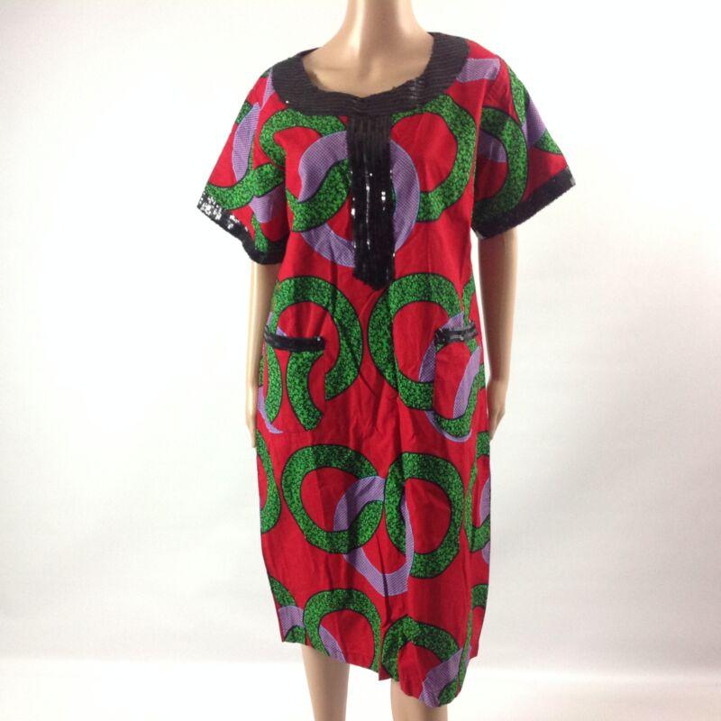 Womens Dress African Kanga Print Ankara Short Dashiki Sleeve Red/Green Size L