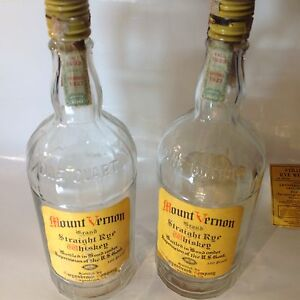 2 mount vernon straight rye whiskey bottles (prohibition era)