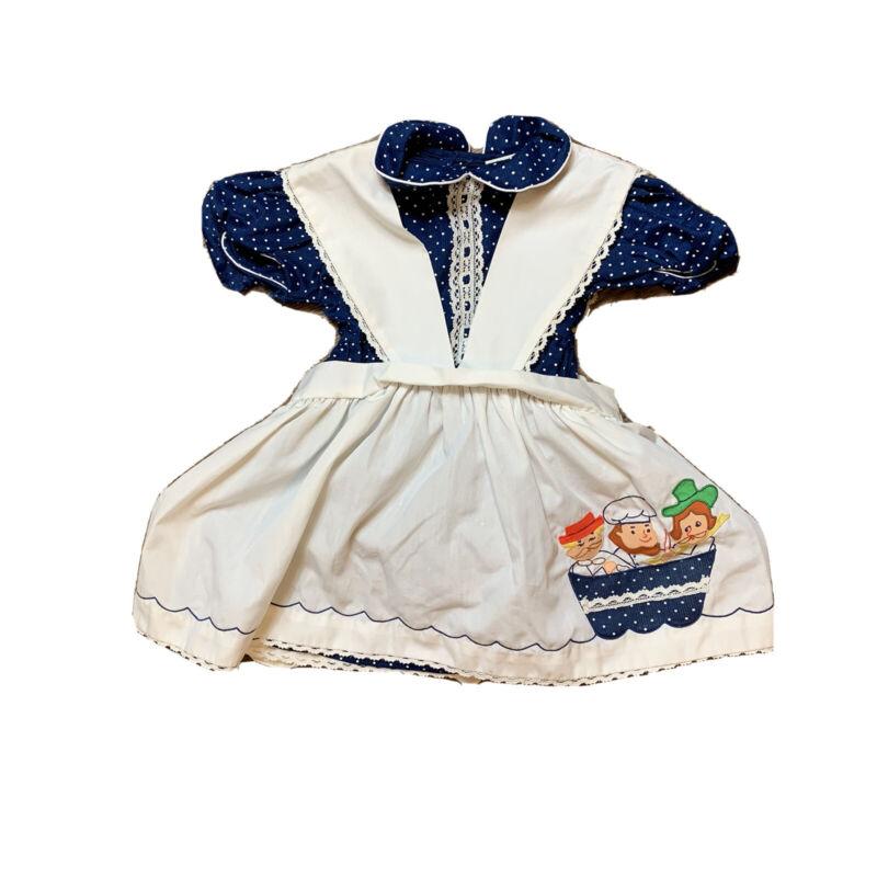 Vintage Nursery Rhyme Dress 2pc Pinafore Navy Blue Polka Dot White Embroidered