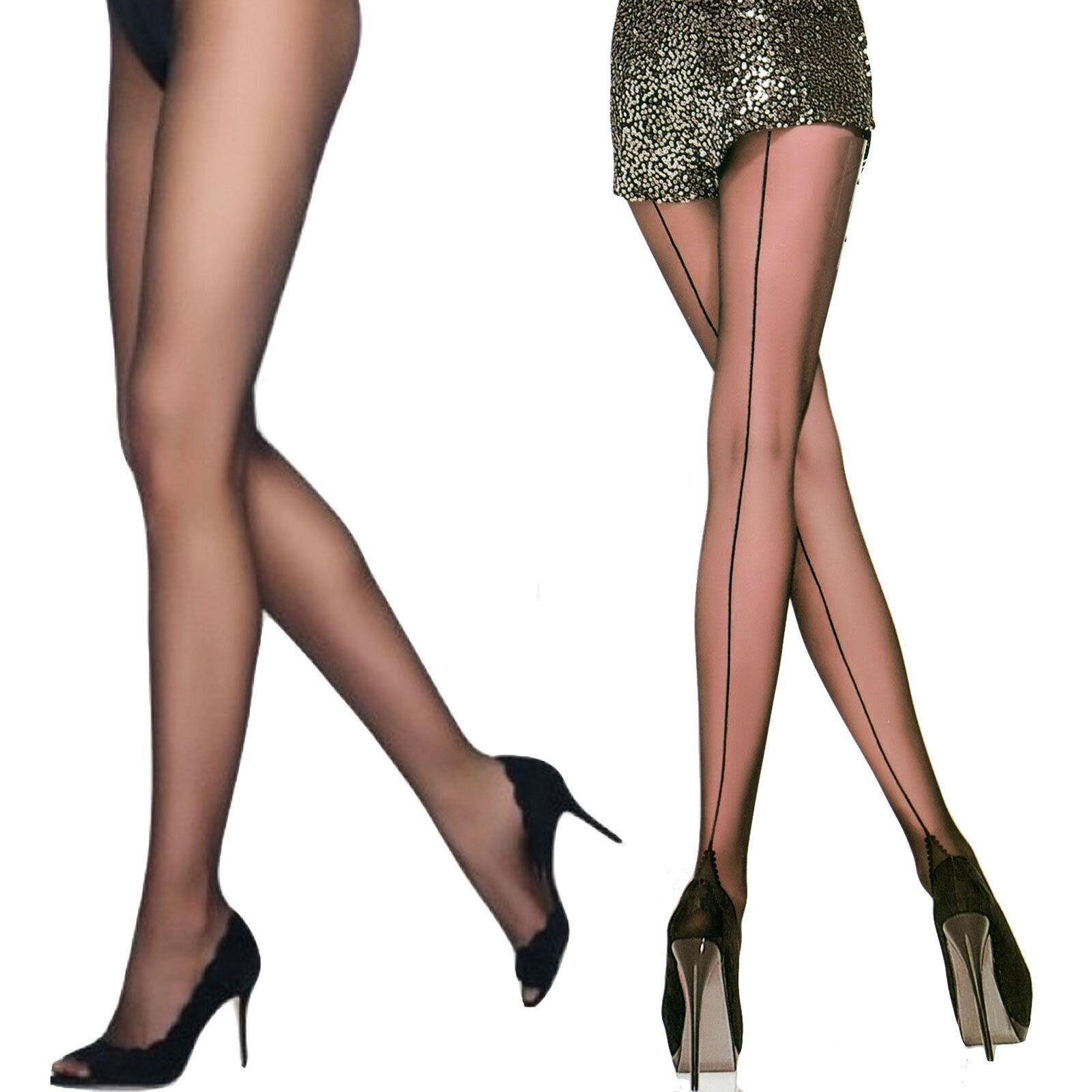 Collant donna calze nere velate riga dietro nera nuove 20 ...