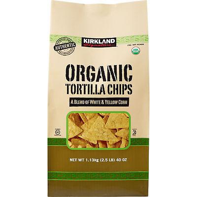 Kirkland Signature Organic White & Yellow Corn Gluten Free Tortilla Chips, 40 oz