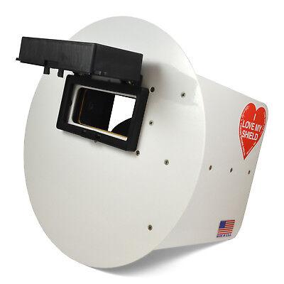 Wendys Pancake Welding Hood Helmet W Strap - Right Handed - White Flip Up Lens