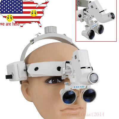 Dental 3.5x-420 Binocular Loupes Surgical Glasses Head Magnifier W Led Light