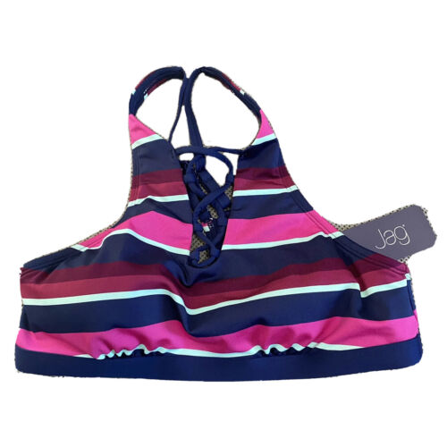 JAG Swimsuit Bikini Top Large Blue Pink Purple Striped $78 Beach Clothing, Shoes & Accessories