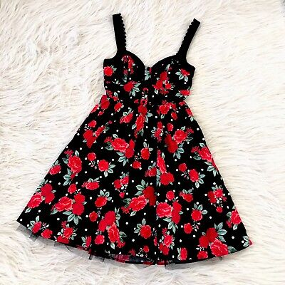 Hot Topic Dress Fit Flare Rockabilly Punk Rose Polka Dot Black Red Pinup Sexy Xl