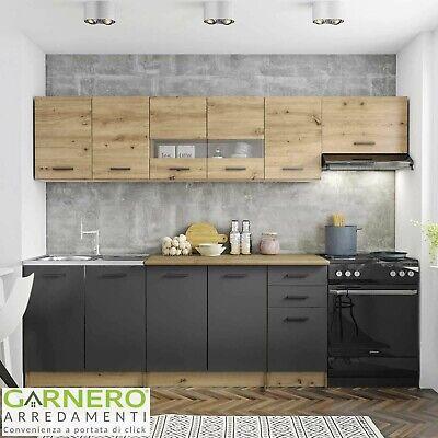Cucina moderna completa rovere grigio vetro COOK 260 cm lineare pensili design
