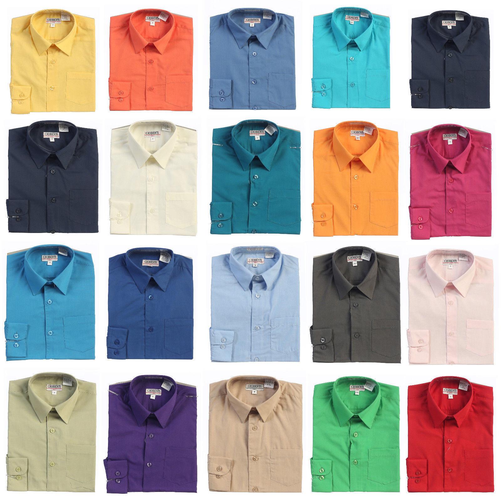 Boys Dress Shirt Solid Long Sleeve Formal  Kids Wedding Part