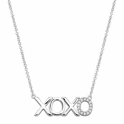 XOXO' Necklace with Cubic Zirconia in Sterling Silver-Plated Brass