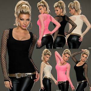 SEXY-NEW-Ladies-Women-LONG-SLEEVE-TOP-6-8-10-12-DANCE-WEAR-BEACH-FISHNET-SHIRTS