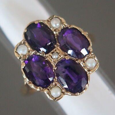 Vtg Victorian Revival 9k 9ct Gold Amethyst Seed Pearl Cluster Flower Sz 7 Ring