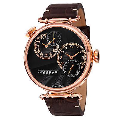 New Men's Akribos XXIV AK796RG Quartz Dual Time Brown Leather Strap Watch