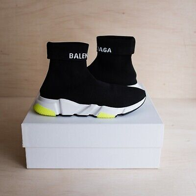 Balenciaga Speed Trainer Black/White/Volt Size 45 (US SIZE 11) PREOWNED