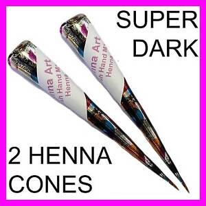 2-X-HENNA-MEHNDI-TEMPORARY-TATTOO-KIT-CONE-Fresh-Hand-Made-Henna-CONES