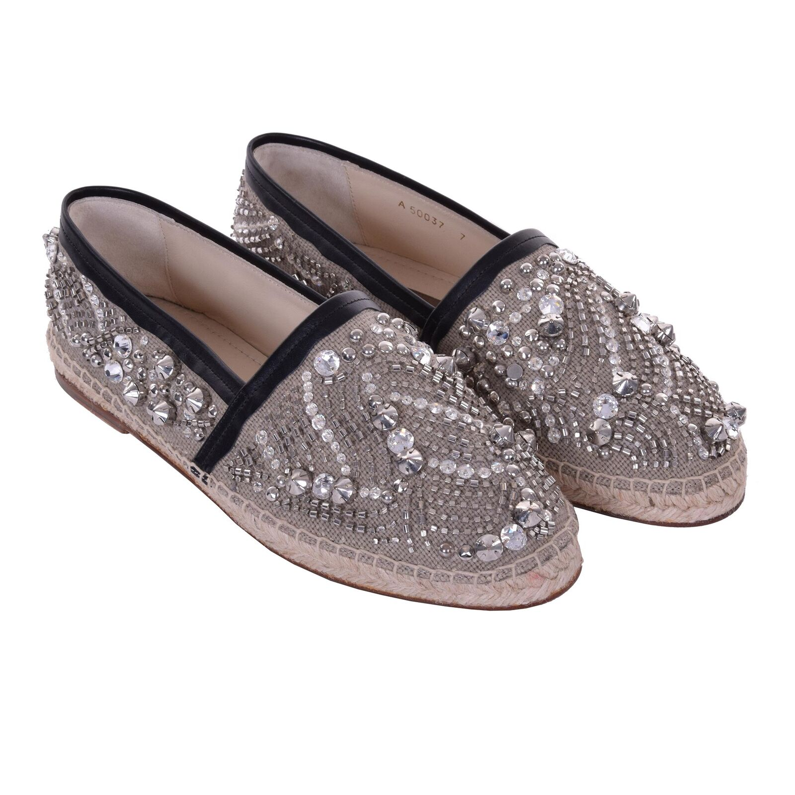 DOLCE /& GABBANA Sequins Canvas Espadrilles Shoes TREMITI Silver Beige 06224