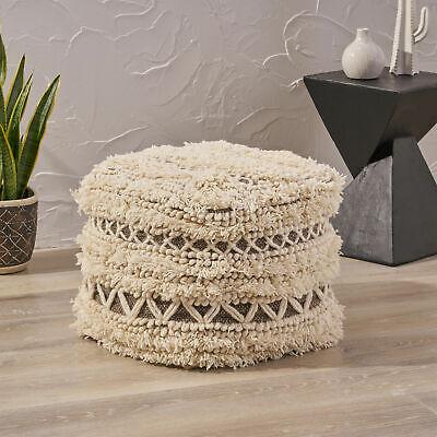 Korey Boho Wool and Cotton Ottoman Pouf