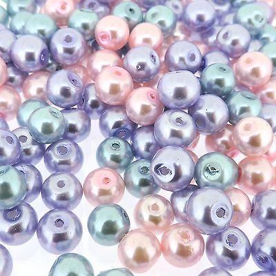 Round Luster Glass Pearl Beads 8Mm  Princess Mix100pcs  Gprd08m Prn