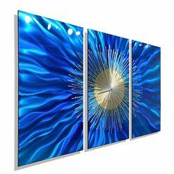 Large Metal Wall Clock Functional Art Blue Gold Silver Modern Decor Jon Allen