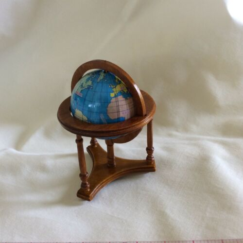 Dollhouse Miniature - WORLD GLOBE WITH WALNUT STAND - 1:12 Scale