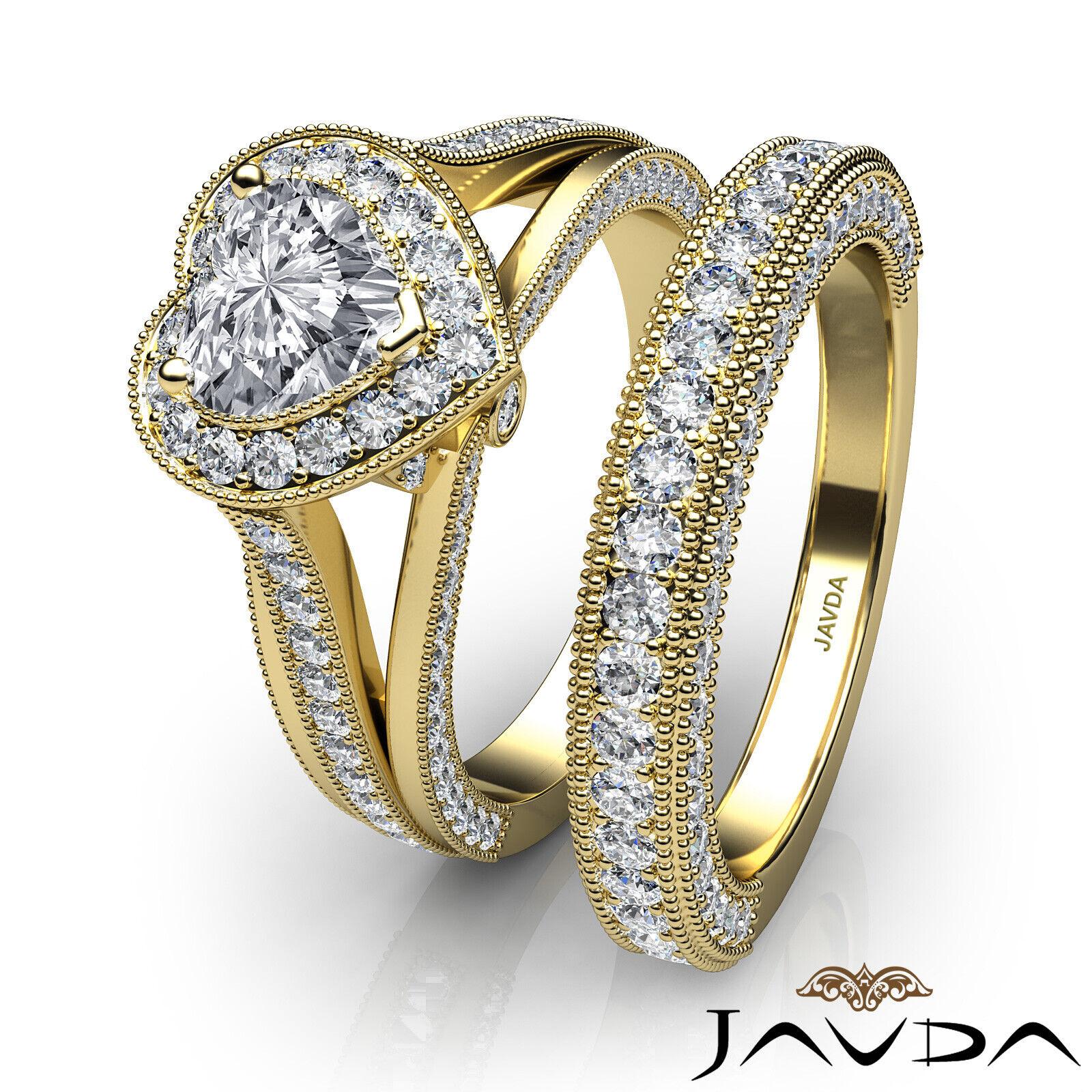 2.24ctw Halo Milgrain Edge Bridal Heart Diamond Engagement Ring GIA F-VS1  Gold 10