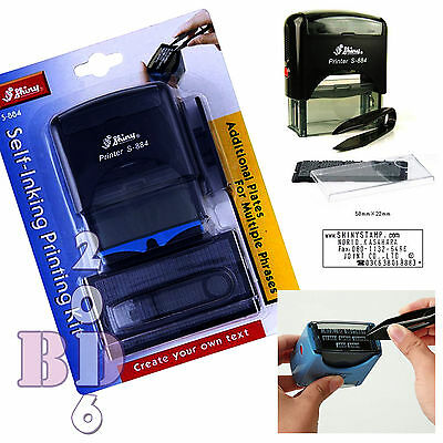 DIY SELF INKING RUBBER STAMP PRINTING KIT 5 LINE PERSONALISED NAME ADDRESS S-884