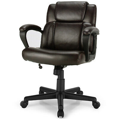 Costway Executive Leather Office Chair Adjustable Computer Chair Swivel Seat