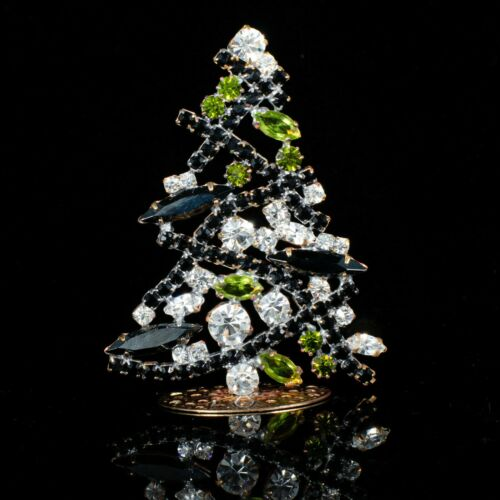 "Christmas tree from Czech republic - stand-up - rhinestone - 2.83"" x 2.05"""