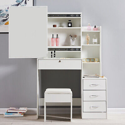 Modern Dressing Table Makeup Desk w/4 Drawer&Sliding Mirror Stool White Bedroom