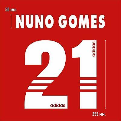 Nuno Gomes 21. Benfica Home football shirt 1997 - 1998 FLOCK NAMESET NAME SET image