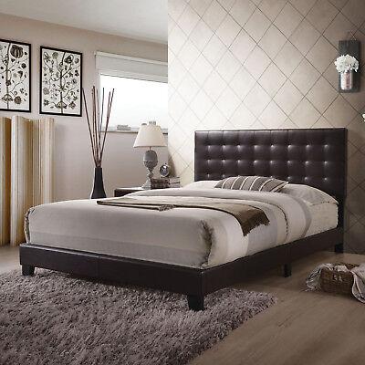 Queen Size Bed Frame Platform Faux Leather Headboard Wood Bedroom Furniture