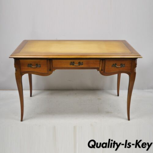 Vintage French Provincial Louis XV Style Cherry Wood Leather Top Writing Desk