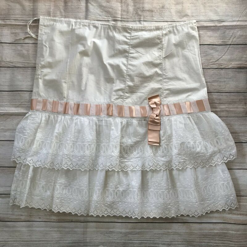 "Antique Edwardian 1900s Petticoat Drawstring 34.5""L Cotton Lace Ribbon Ruffle"