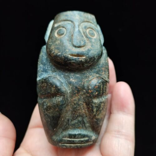 Ancient Chinese hongshan culture,old jade carved,Ancient nice statue pendantH484