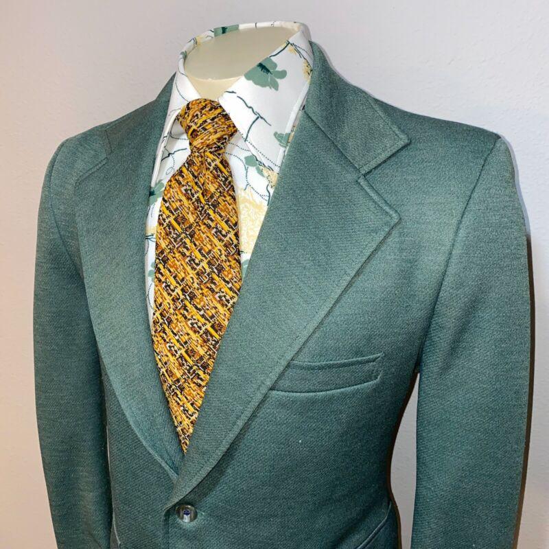 Vtg 60s 70s HABAND Leisure Suit Jacket Disco Blazer Coat POLYESTER Green MENS 42