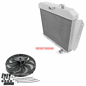 1955-1956-1957-1958-1959-Chevy-Pickup-Truck-Champion-3-Row-Radiator-16-Fan