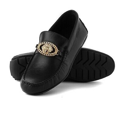 Men's Versace Loafers Black Leather Slip Ons Size UK 7 EU 41 Brand New RRP 395