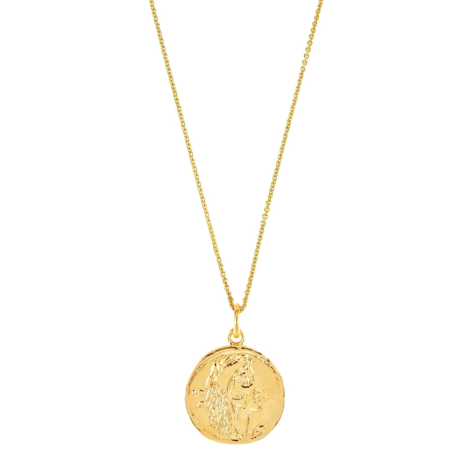 """Italian-Made Coin Pendant in 18K Gold-Plated Bronze, 18"""""""