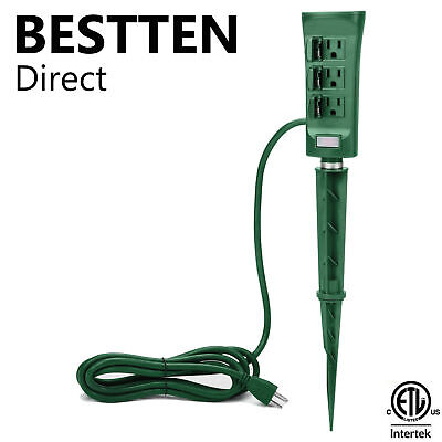 6-Outlet Yard Power Stake Outdoor Power Strip  w/ 9FT Cord & ON/OFF Switch ETL ()