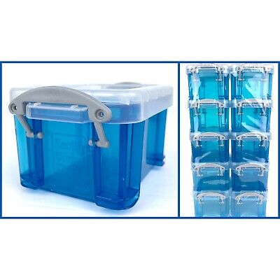 Really Useful Box Miniature Storage Container Boxes 0.14 Liter 10 Pack Blue New