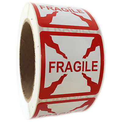 Red Fragile Labels Stickers - 2 By 2 - 500 Ct Roll - Sl034