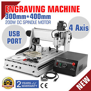 USB CNC ROUTER ENGRAVER ENGRAVING CUTTER 4 AXIS 3040T 200W MILLING T-SCREW
